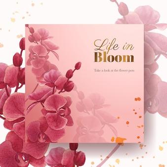 Adverteer sjabloon met pampa's bloemenwaterverf