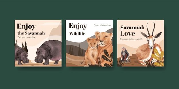 Adverteer sjabloon met savanne wildlife concept aquarel illustratie Premium Vector
