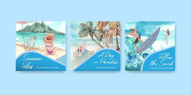 Adverteer sjabloon met strandvakantie conceptontwerp voor marketing aquarel illustratie