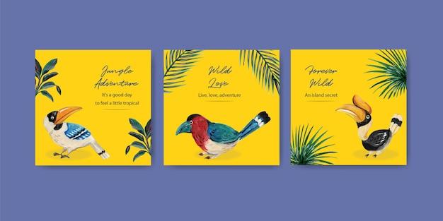 Adverteer sjabloon met tropisch eigentijds conceptontwerp voor marketing aquarel illustratie