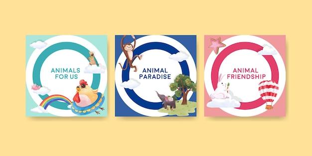 Adverteer sjabloon met vrolijke dieren concept aquarel illustratie