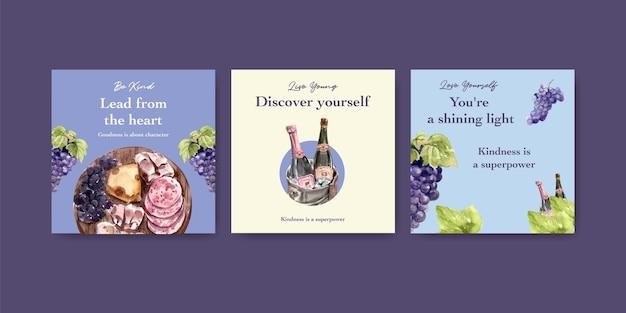 Adverteer sjabloon met wijnboerderij conceptontwerp voor marketing aquarel illustratie.