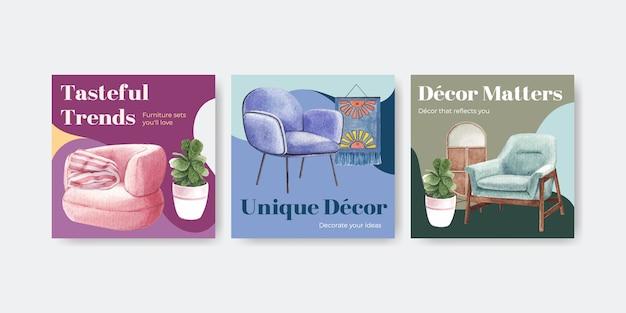 Adverteer sjabloon set met luxe meubels in aquarel stijl