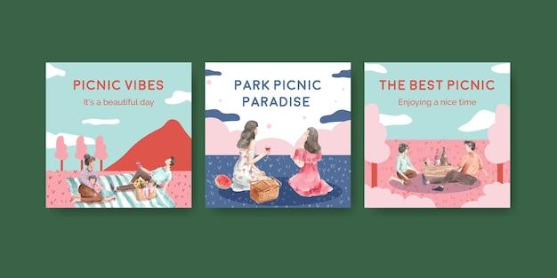Adverteer sjabloon set met picknick reizen concept Gratis Vector