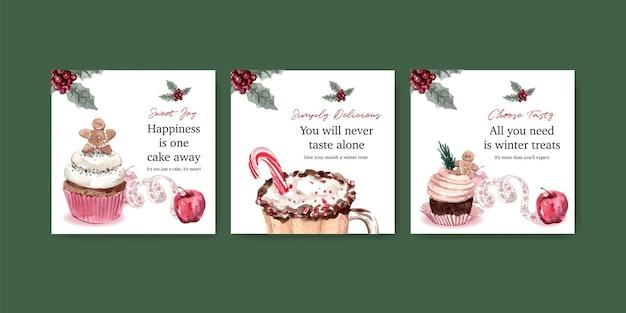 Adverteer sjabloon set met wintersnoepjes in aquarel stijl
