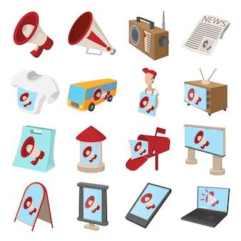 Advertentie pictogrammen instellen in cartoon stijl geïsoleerd