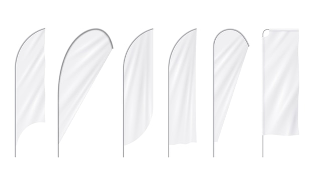 Advertentie realistische lege strand witte vlaggen