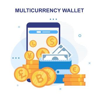 Advertentie voor mobiele portemonnee met meerdere valuta's