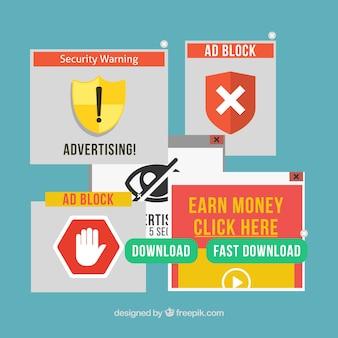 Advertentieblokconcept met plat ontwerp