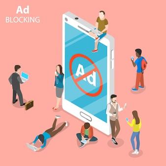 Advertentieblokkering plat isometrisch concept. mensen omringden een smartphone met tekenen van geblokkeerde advertenties.