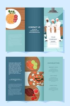 Advertentiebrochure voor restaurant- en maaltijdbezorging. europese en aziatische keuken. lekker eten voor ontbijt, lunch en diner. boekje of flyer voor voedselbezorging. illustratie
