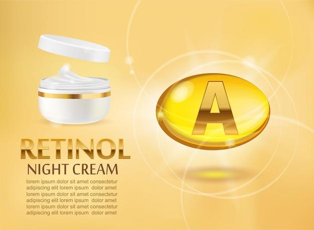 Advertentieontwerp voor schoonheidsproducten. grote gele capsule van vitamine a en cosmetische container van premium retinol nachtcrème.