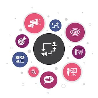 Advertentieplan infographic 10 stappen bubble design.marketing, strategie, planning, doel eenvoudige pictogrammen
