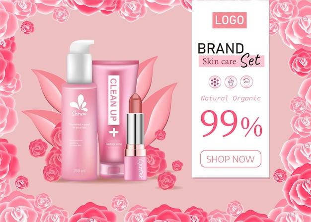Advertenties mode cosmetische collectie lippenstift huidverzorging en reiniging met roze bloemblaadje pastelkleur