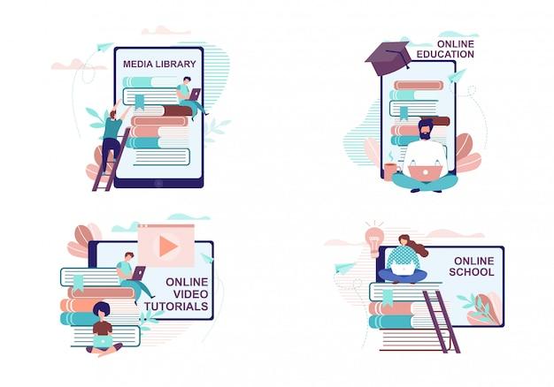 Advertenties voor educatie en training op afstand