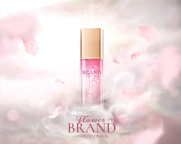Advertenties voor huidverzorgingsproducten met vliegende roze bloemblaadjes en misteffect