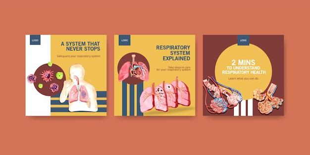 Advertenties voor sjabloonontwerp met menselijke anatomie van de long en de luchtwegen