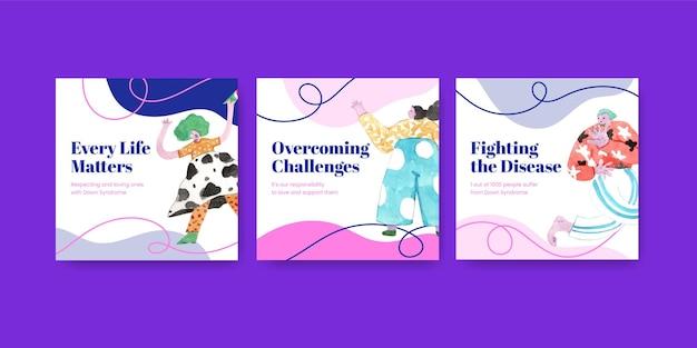 Advertentiesjabloon met concept van de dag van het syndroom van down