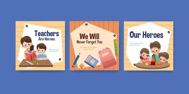 Advertentiesjabloon met conceptontwerp van de dag van de leraar