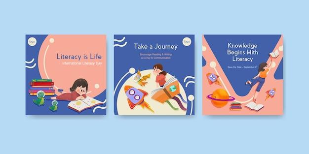 Advertentiesjabloon met conceptontwerp van de internationale dag van de alfabetisering voor zakelijke marketing aquarel.