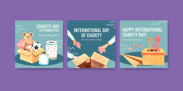 Advertentiesjabloon met conceptontwerp van de internationale dag van liefdadigheid voor reclame en marketing aquarel.