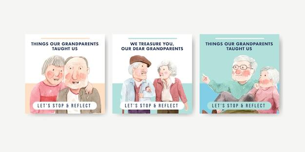 Advertentiesjabloon met conceptontwerp van de nationale grootoudersdag voor reclame en marketing van aquarel.
