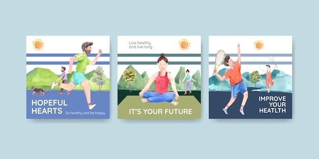 Advertentiesjabloon met conceptontwerp van de wereld geestelijke gezondheid dag voor adverteren en marketing van aquarel