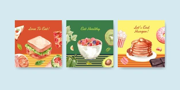 Advertentiesjabloon met conceptontwerp van de wereldvoedseldag voor reclame en marketing van aquarel