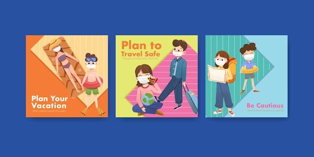 Advertentiesjabloon met covid-19-preventieconceptontwerp voor een nieuwe normale levensstijl.