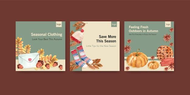 Advertentiesjabloon met herfst dagelijks conceptontwerp voor reclame en marketingwaterverf