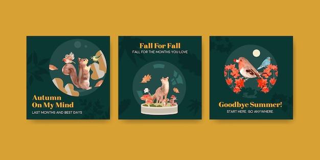 Advertentiesjabloon met herfstbos en dieren