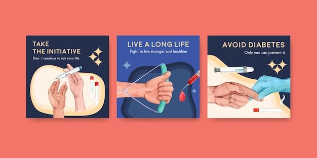 Advertentiesjabloon met het conceptontwerp van de werelddiabetesdag voor marketing aquarel vectorillustratie.