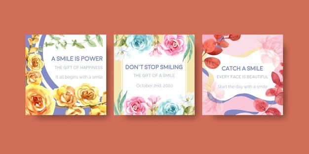 Advertentiesjabloon met het ontwerp van het bloemenboeket voor het concept van de wereldglimlachdag om waterverf vectorillustraion op de markt te brengen.