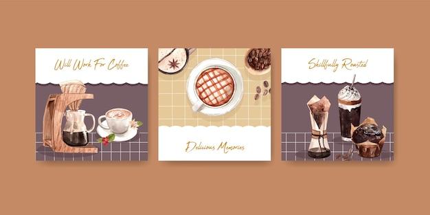 Advertentiesjabloon met internationale koffiedag-conceptontwerp voor reclame en marketing van aquarel