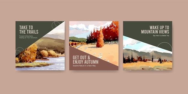 Advertentiesjabloon met landschap in herfstontwerp voor instagram-post