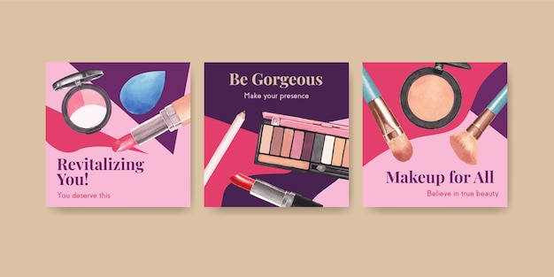 Advertentiesjabloon met make-up conceptontwerp voor marketing en zakelijke aquarel.