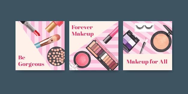 Advertentiesjabloon met make-up conceptontwerp voor marketing en zakelijke aquarel.