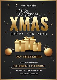 Advertentiesjabloon of flyer met geschenkdozen, kerstballen en gebeurtenisdetails voor merry xmas en happy new year viering.