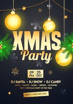 Advertentiesjabloon of flyer versierd met hangende kerstballen, pijnboombladeren en gebeurtenisdetails voor xmas party.