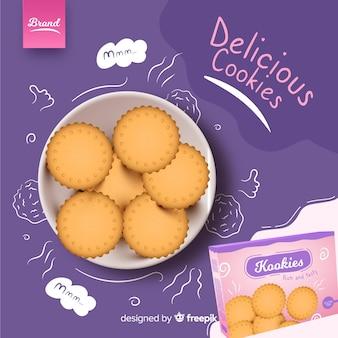 Advertentiesjabloon voor cookies met doodles