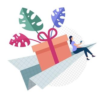 Adverteren flyer gemakkelijke levering van geschenken