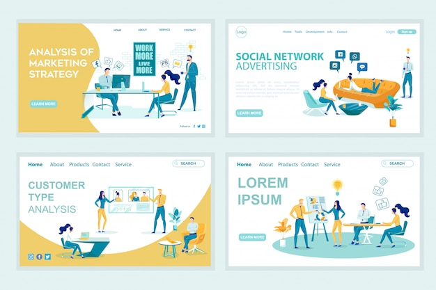 Adverteren landing page vector templates set