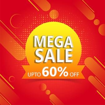 Adverteren poster of sjabloonontwerp met 60% kortingsaanbieding fo