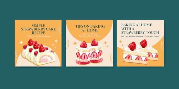 Adverteren sjabloon met aardbei bakken ontwerp met shortcake jelly roll, verrukking cheesecake aquarel illustratie