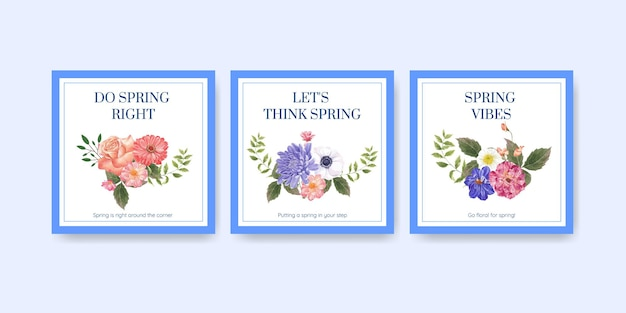 Adverteren sjabloon met lente heldere concept aquarel illustratie