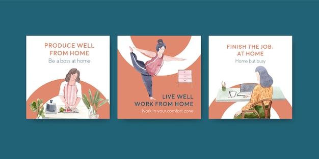 Adverteren sjabloonontwerp met mensen werkt vanuit huis en lichaamsbeweging. kantoor aan huis concept aquarel vectorillustratie