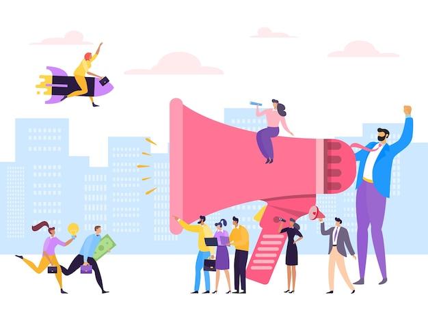Adverteren van zakenmensen voor communicatie via luidspreker Premium Vector