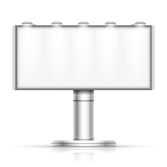 Adverterend openlucht leeg die aanplakbord op wit model wordt geïsoleerd. straatbanner voor promotie