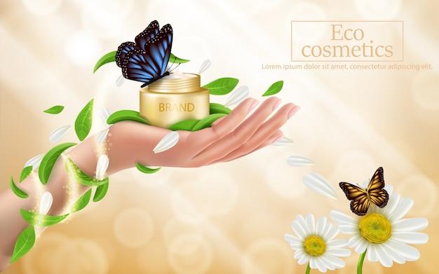 Adverterende affiche van een bevochtigend kosmetisch product