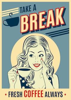 Adverterende koffie retro affiche met pop-artvrouw.